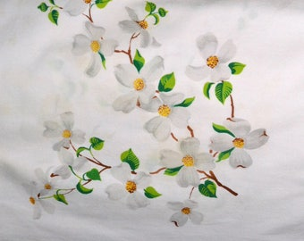 Vintage Wilendur Dogwood tablecloth, White tablecloth with dogwood flowers, Dogwood blossom tablecloth, Table Linens