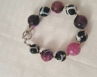 Pink Purple Black White Silver Stone Bracelet - Stone Bracelet - Pink Bracelet - Purple Bracelet - Black Bracelet- White Bracelet- Silver