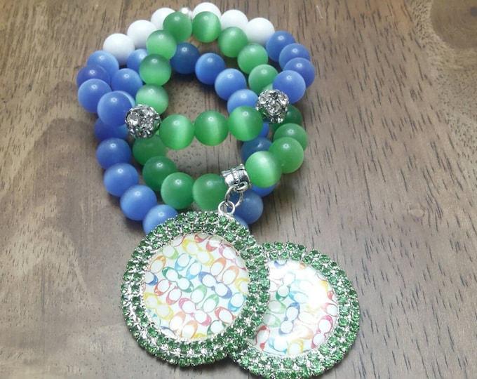 Green and Blue Cat's Eye Beaded Charm Bracelet Set