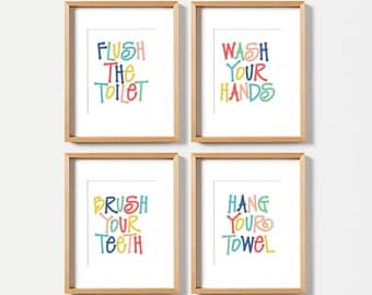 Kids bathroom art set, PRINTABLE art, Flush the toilet, Wash your hands, Brush your teeth, Colorful bathroom wall decor, Bathroom wall art