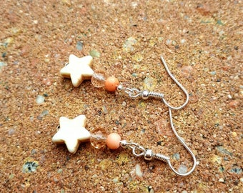 Vintage peach earrings with stars