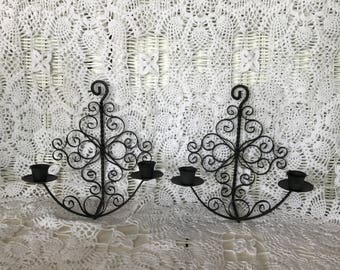 Metal Scroll Wall Candle Sconce Set, Spanish Sconce for Tapered Candles, Black Metal Sconce Set, R6