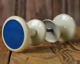 Soviet door knob Vintage handle Antique door knob Rare handle Blue door knob Vintage Knobs Metal door knobs Door hardware White door handles