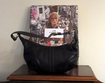 Coach Soho Hobo Bag In Black Leather With Brass Hardware Style No 11543- VGC