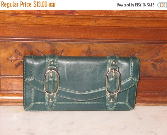 Football Days Sale Cole Haan Green Leather Clutch Wallet