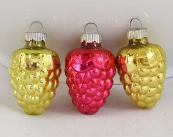 Vintage Shiny Brite Glass Shape Christmas Ornaments, Gold And Red Ornament