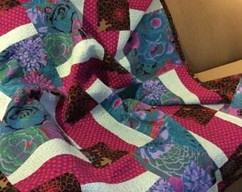 Handmade Large Lap Quilt - blue, raspberry, and black cotton