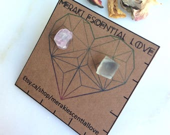 Pink Tourmaline | Moonstone. Mismatched Earring Studs. Moon Babe Earrings. Boho Jewelry.