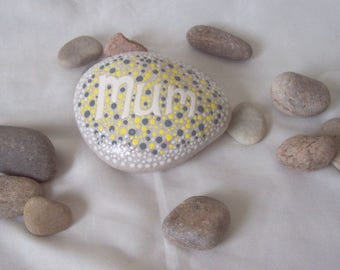 Hand Painted Mandala Message Pebble MUM Mandala Dotwork Hand Painted Natural Pebble