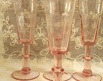 Tall Champagne Flute Glasses - Pink Etched Glass - Set of Four