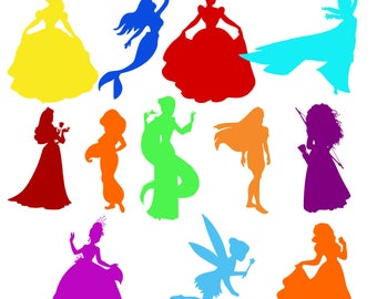Disney Princess SVG Disney Princess Silhouette Cut File Disney Princess Clipart Cricut Silhouette Cameo DXF
