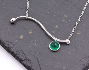 Sterling Silver Wave Design Pendant Necklace with Chrysoprase (Green Chalcedony) 18 - 20'' Bridesmaid Jewellery