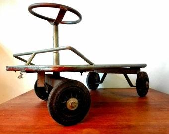 Vintage steel and Wood play car