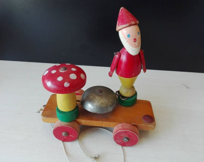 Sio wooden toy,  Gnome and toadstool