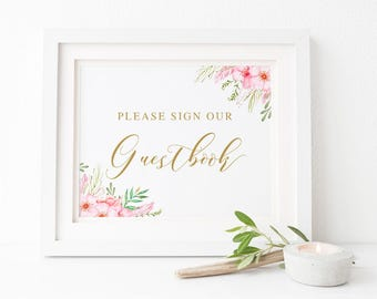 Pink and Gold Watercolour Floral Printable Wedding Sign, Please Sign Our Guestbook, Instant Download, Peach Perfect Australia