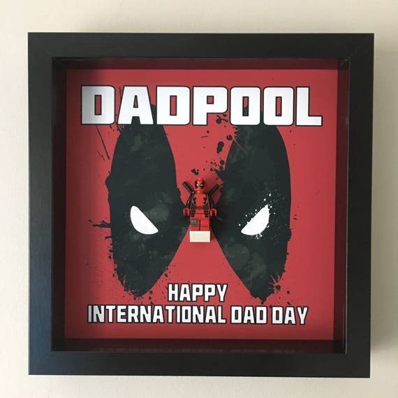 Deadpool Dad Minifigure Frame, Mum, Gift, Geek, Box, Dad, Idea, For Her, For Him, Anniversary, Comic, Lego, Art, Frames, Framed, Birthday