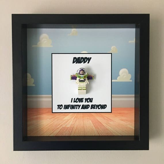 Buzz Lightyear Daddy Minifigure Frame, Mum, Gift, Geek, Box, Dad, Idea, For Her, For Him, Fathers Day, Art, Frames, Framed, Birthday,