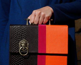 Leather bag, Lion, three color bag