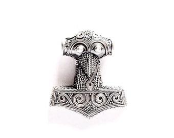 Medium Silver Filigree Thor's Hammer  VIKING KRISTALL Pendant