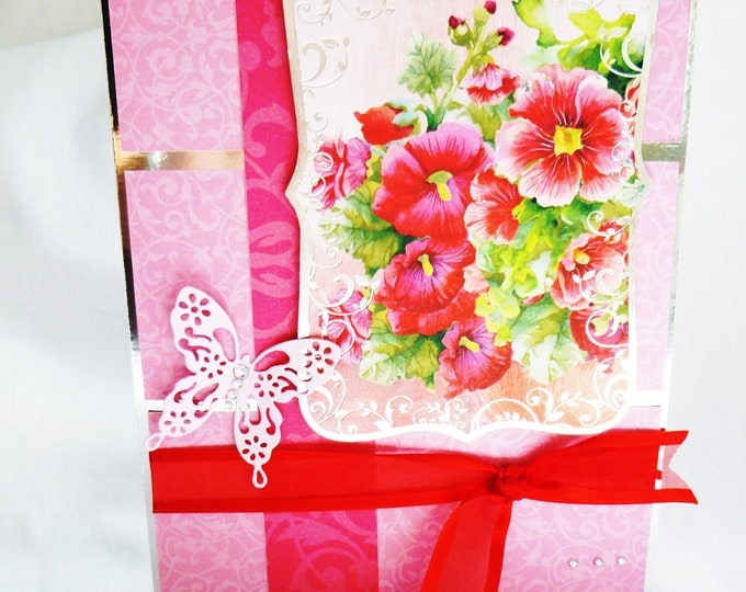 Floral Birthday Card, Greeting Card,Any Occasion Card, Red Flowers, Pink Butterfly, Female, Any Age, Mum, Sister, Daughter, Niece, Aunt
