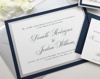 Navy Wedding Invites Etsy