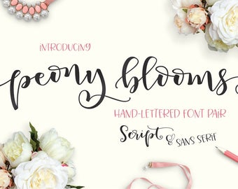 Peony Blooms Font Duo Hand lettered Calligraphy Font Set