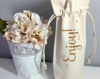 Housewarming - Wine Bag - Wine Gift Bag - Enjoy - Thank you Gift - Hostess Gift - Wedding Shower Bag  - Thank you - Congrats - Bridesmaid