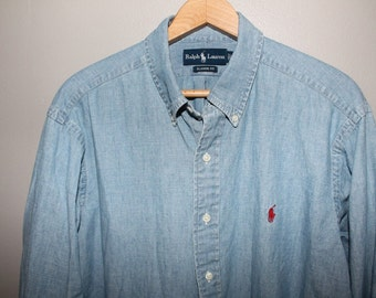 90s Ralph Lauren Chambray Shirt XL Soft Cotton 50 Chest Grunge Button Down Faded