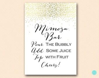 Gold Mimosa Bar Sign, Mimosa Bar Printable, Bubbly Bar Sign, Mimosa Sign, Mimosa Bar, Bridal Shower Decoration Signs BS472B ds