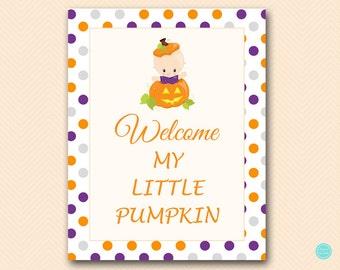 Welcome My Little pumpkin Sign, Pumpkin Baby Shower Decorations, Autumn Baby Shower, Instant Download TLC106