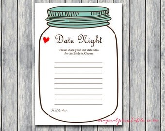 Mason Jars Bridal Shower Games, Date Night Cards, Date Night Ideas, Date Night Bridal Shower, Date Night Game, Bridal Shower Game, BS94
