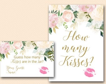 Pink Blush How many kisses, guess how many kisses, how many kisses game, how many kisses in the jar, Bridal Shower Games Printable BS530Z