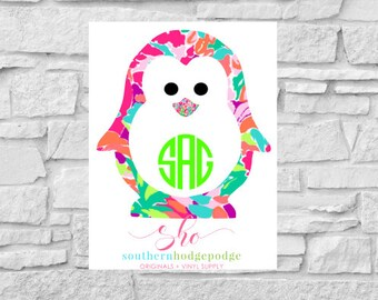 Lilly inspired Penguin vinyl decal with monogram/ car decal/ vinyl decal/ lilly/ penguin decal/ penguin monogram decal