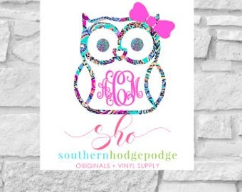 Lilly inspired Owl vinyl decal with monogram/ car decal/ vinyl decal/ lilly