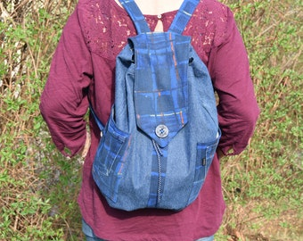 Denim Backpack, Recycled Backpack, Boho Hippie backpack, School Backpack