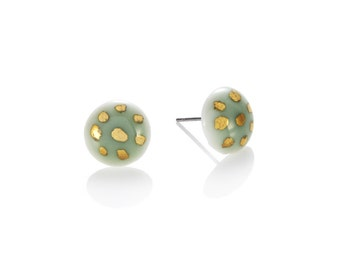 green porcelain round Studs with 22k Gold polka dot