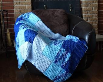 Baby Knitted Blanket - Bleu Baby Blanket - Vintage - Knit Blanket - Baby quilt Plaid - Baby quilt Blanket - Blanket for Stroller