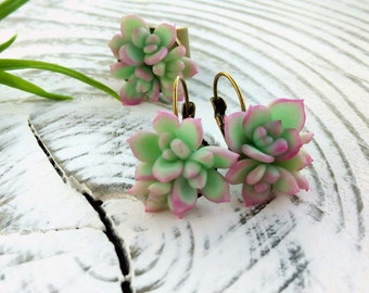 plants clay,clay flowers,succulents earrings,earrings clay,set jewelry, handmade,jewelry clay ring succulents,cold porcelain,gift for women