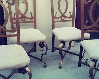 1960s Kesslar Industries Gold Aluminum Chairs Hollywood Regency, throne chairs, wrought, iron chairs, patio chairs,