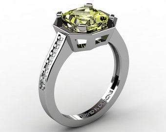 Modern Russian 14K White Gold 2.0 Ct Princess Yellow Topaz Diamond Engagement Ring R1106-14KWGYT