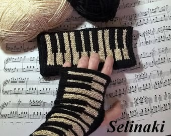 Knit Golden Piano Fingerless Gloves Gold Glitter Mittens Hand Wrist Warmers Music