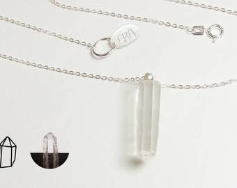 Lemurian seed quartz necklace, natural genuine lemurian crystal on a solid 925 sterling silver 16 inch, 1,2mm chain, handmade