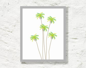 Printable art - mid century modern - palm trees print - palm springs cactus - tropical art - Digital wall decor - INSTANT DOWNLOAD