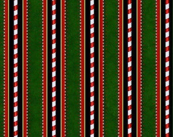 Kringle Krossing, Christmas fabric, Candy Cane Poles, Candy Cane striped fabric, Holiday Border Fabric,  by Henry Glass, 6408-66
