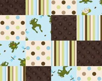 Flannel Fabric, Nursery Frog Pad, Pieced Flannel, Ready Made Flannel quilt top, Pieced Flannel fabric, by Springs Creative, 41297