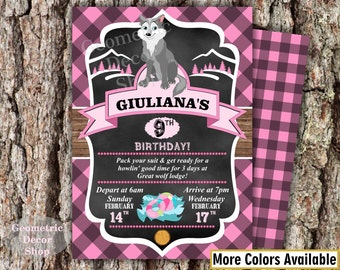 Lumberjack Birthday Party Invite First Birthday Wilderness Pink Plaid Lumber Jack Invitation Rustic Great Wolf Lodge buffalo Girl BDLJ21