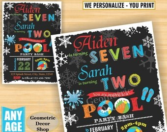 Pool Party Invitation Pool Bash Birthday Invite Girl Boy Swimming Water Slide Blue Red Winter Chalkboard Swim joint combined dual double P10
