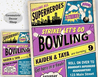 Twins Bowling Birthday Invitation Superhero Invite Superheroes Boy Girl Strike Purple Blue Yellow Vintage joint combined dual double BDBW9