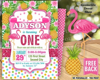 Flamingo Pineapple First Birthday Invitation 1st Any age Glitter Polka dot Birthday invite Invitation Printable Luau Hawaiian Party BDP1