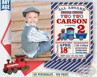 Vintage Train Birthday Invitation Train Invite Blue Red Train Invitations Boy Party Chugga Choo Photo Photograph Two Second Birthday BDT9